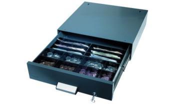 Cassetto portadenaro sottopiano con combinazione a tasti e segnale d'allarme 410 x 400 x 108 mm Lamiera Acciaio Grigio antracite