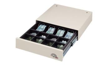 Cassetto portadenaro sottopiano con Chiusura a pressione 366 x 425 x 98 mm Lamiera Acciaio Bianco Crema