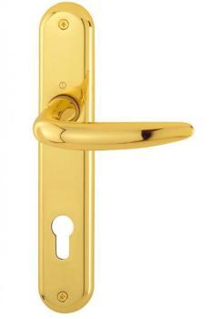 Maniglia per porte interne con placca lunga in Ottone Hoppe serie Atlanta Ottone lucido