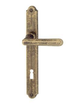 Maniglia per porta interna placca Hoppe serie Basel finitura Ottone bronzato antiqua