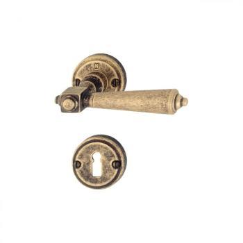 Maniglia per porta Hoppe serie Singapore con rosetta e bocchetta foro normale Ottone bronzato Antico