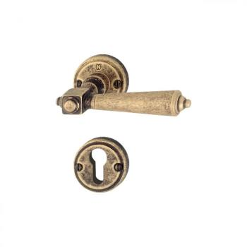 Maniglia per porta Hoppe serie Singapore con rosetta e bocchetta foro yale Ottone bronzato Antico
