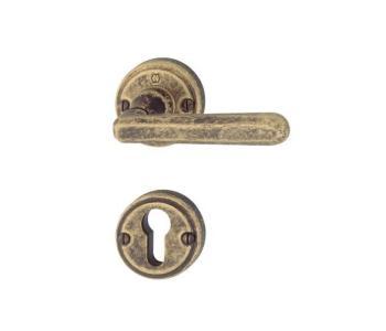 Maniglia per porte Hoppe serie Basel finitura Ottone bronzato antiqua con rosetta e bocchetta
