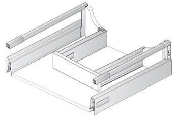 Cassetto sottolavello preassemblato Hettich ArciTech h186 mm, lunghezza nominale 500 mm, larghezza mobile 900 mm ANTRACITE