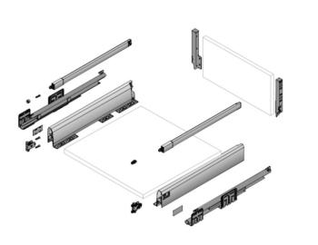 Kit cassettone con ringhiera Hettich ArciTech h186 mm, h spondina 94 mm, lunghezza nominale 500 mm, larghezza 450mm ARGENTO