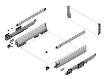 Kit cassetto Hettich ArciTech h 94mm, lunghezza nominale 500mm, larghezza mobile 900mm ANTRACITE