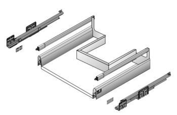 Kit Cassettone sottolavello da montare Hettich ArciTech h218 mm,lunghezza nominale 500 mm, larghezza mobile 900 mm ANTRACITE