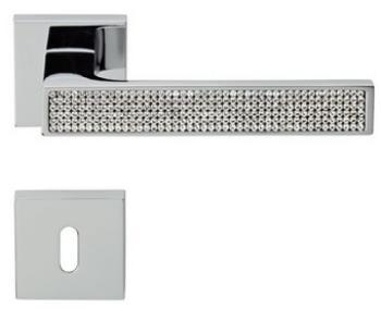 Maniglia per porta Linea Calì Serie Zen Mesh con Cristalli Swarovski con bocchette e foro normale Cromo Lucido
