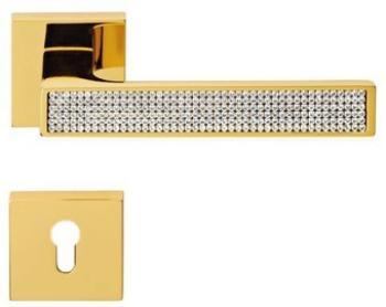 Maniglia per porta Linea Calì Serie Zen Mesh con Cristalli Swarovski con bocchette e foro yale Oro Zecchino
