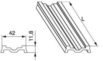 Profilato su Soglia HS MAICO Vetroresina S=42 mm per Battente Fisso Legno L=2.000 mm Argento