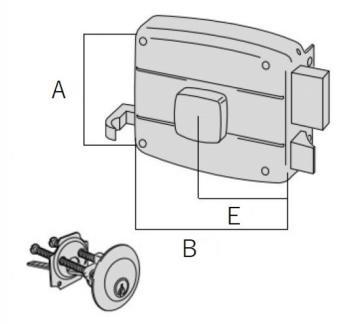 Serratura Cisa per portoncino applicare con cilindro - Mano destra Entrata 60 mm