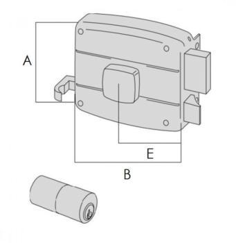 Serratura Cisa per portoncino applicare 2 mandate e scrocco cilindro fisso pomolo interno - Mano destra entrata 70 mm