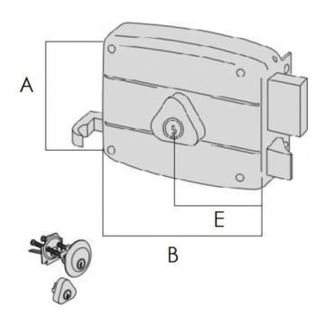 Serratura Cisa per portoncino applicare 2 mandate e scrocco cilindro staccato esterno cilindro fisso interno - Mano sinistra entrata 70
