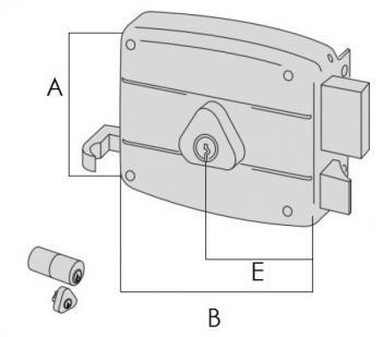 Serratura Cisa per portoncino applicare 2 mandate e scrocco doppio cilindro fisso - Mano destra entrata 60 mm
