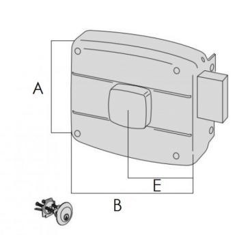 Serratura Cisa per portoncino applicare 2 mandate cilindro staccato pomolo interno - Mano destra entrata 50 mm
