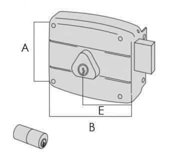 Serratura Cisa per portoncino applicare 2 mandate doppio cilindro fisso - Mano destra entrata 50 mm