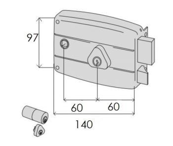 Serratura Cisa per portoncino applicare - verniciata 2 mandate e scrocco con quadro maniglia doppio cilindro fisso - Mano dx ent. 60