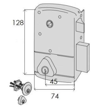 Serratura Cisa portoncino applicare 2 mandate scrocco con quadro maniglia cilindro staccato esterno cilindro fisso interno - Mano dx ent. 45