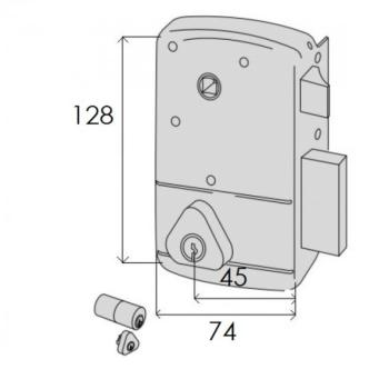 Serratura Cisa portoncino applicare  2 mandate e scrocco con quadro maniglia doppio cilindro fisso - Mano dx ent. 45
