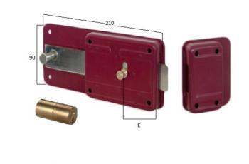 Ferroglietto Cisa con cilindro fisso e scrocco incorporato - Entrata 50 mm