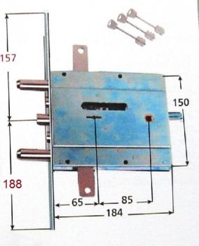 Serratura Assa Abloy doppia mappa per blindata infilare triplice 4 mandate e scrocco - Mano sinistra Int. 54 mm