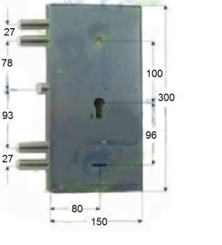Serratura Assa Abloy doppia mappa per blindata con scrocco - Mano sinistra Cor. Cat. 40