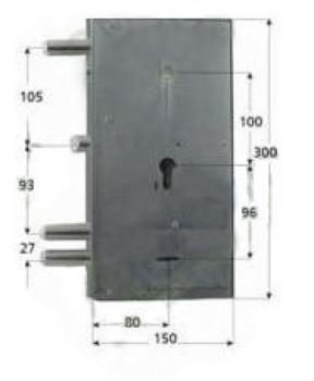Serratura Assa Abloy doppia mappa per blindata scrocco con 1 mandata azionata da cilindro - Mano sinistra
