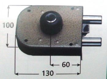 Ferroglietto CR a pompa applicare laterale con scrocco cilindro corazzato antitrapano apertura interna con pomolo serie 1650 - Mano sinistra