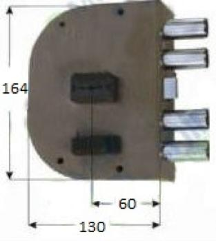 Serratura CR doppia mappa applicare laterale con scrocco serie 2050 - Mano destra