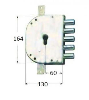 Serratura CR per blindate a cilindro planare triplice 2 mandate serie 2105 - Mano sinistra interasse 28 mm