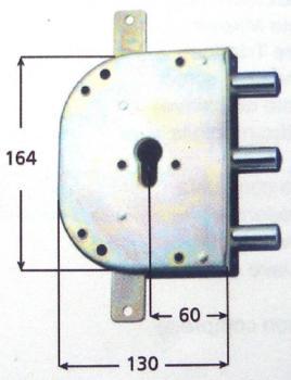Serratura CR per blindate a cilindro planare triplice 2 mandate serie 2105 - Mano destra interasse 56 mm