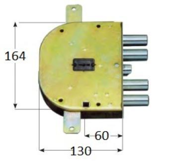 Serratura CR per blindate doppia mappa planare triplice 4 mandate e scrocco azionato da chiave e quadro maniglia - Mano sx Int.28
