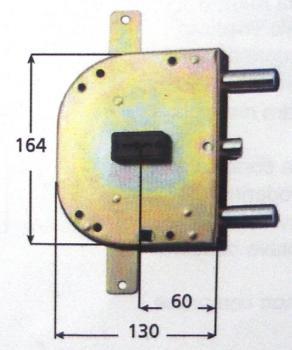 Serrature per blindate doppia mappa planare triplice 4 mandate e scrocco azionato da chiave e quadro maniglia - Mano sx Int. 56