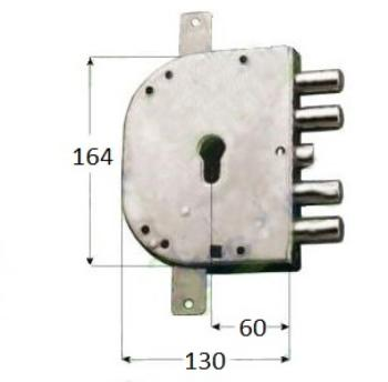 Serratura CR per blindate a cilindro planare triplice 4 mandate scrocco azionato da cilindro e quadro maniglia - Mano dx Int. 28 mm