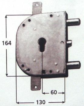 Serratura CR per blindate a cilindro planare triplice 4 mandate e scrocco azionato da cilindro e quadro maniglia - Mano dx Int. 56 mm