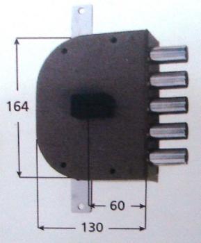 Serratura CR doppia mappa applicare triplice - Mano sinistra Interasse 28 mm