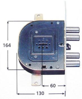Serrature CR per blindate doppia mappa infilare triplice 4 mandate e scrocco azionato da chiave e quadro maniglia - Mano dx Int. 28 mm