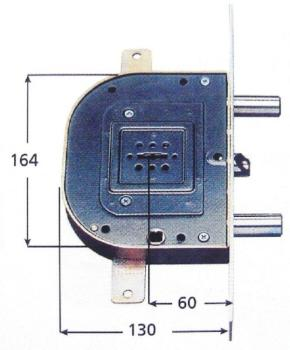 Serratura CR per blindate doppia mappa infilare triplice 4 mandate e scrocco azionato da chiave e quadro maniglia - Mano sx Int. 56 mm