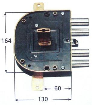 Serratura CR per blindate doppia mappa planare triplice 4 mand scrocco azionato da chiave e q. maniglia - Mano sx Int 28 Canotto 45