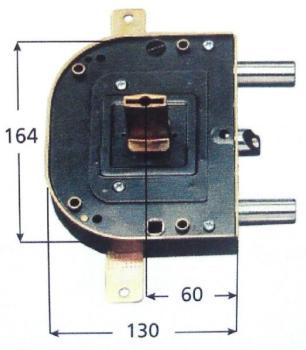 Serratura CR per blindate doppia mappa planare triplice 4 mand scrocco azionato da chiave e q maniglia - Mano dx Int. 56 Canotto 45
