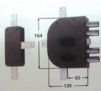 Serratura CR doppia mappa applicare quintuplice con scrocco - Mano sinistra Int. 28 mm