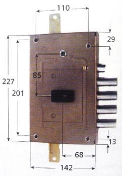 Serratura CR per blindate doppia mappa triplice ambidestra scrocco reversibile - Int 28