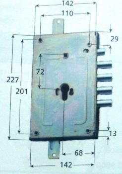 Serratura CR per blindata a cilindro planare triplice ambidestra scrocco reversibile - Int. 28