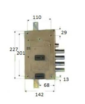 Serratura CR per blindate doppia mappa planare triplice plurisistema ambidestra - Int 28 mm