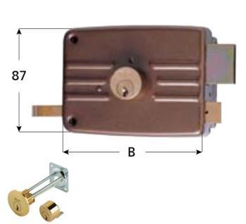 Serratura Iseo per portoncino applicare 3 mandate scrocco cilindro staccato esterno cilindro fisso interno - Mano dx ent 60