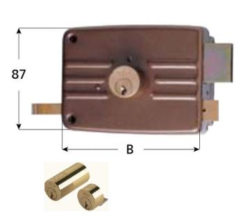 Serratura Iseo per portoncino applicare 3 mandate e scrocco doppio cilindro fisso - Mano destra entrata 70 mm