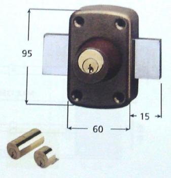 Serratura Iseo applicare Verrou ambidestra cilindro interno e cilindro esterno 2 mandate
