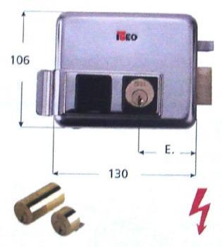 Elettroserratura Iseo per cancelli applicare inox doppio cilindro scrocco autobloccante - Mano sinistra entrata 60 mm