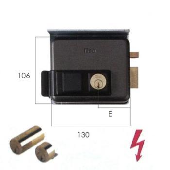 Elettroserratura Iseo per cancelli applicare doppio cilindro con tettuccio protettivo scrocco autobloccante - Mano dx ent 50 mm