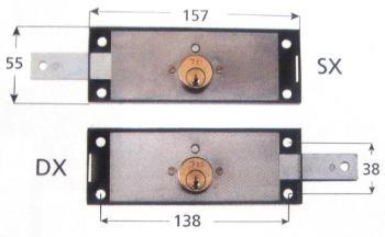 Serrature Iseo per serrande laterale 1 mandata e cilindro tondo fisso - Mano destra